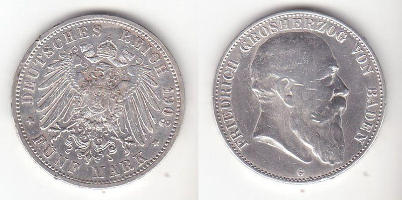 5 Mark Silbermünze Baden Großherzog Friedrich 1903 Jäger 33  (111249) 0