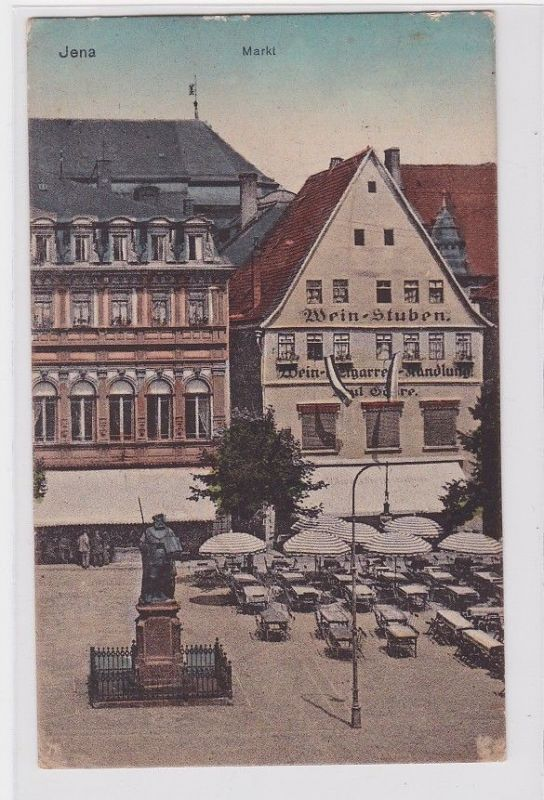 92210 Ak Jena Markt mit Weinstuben 1931 0