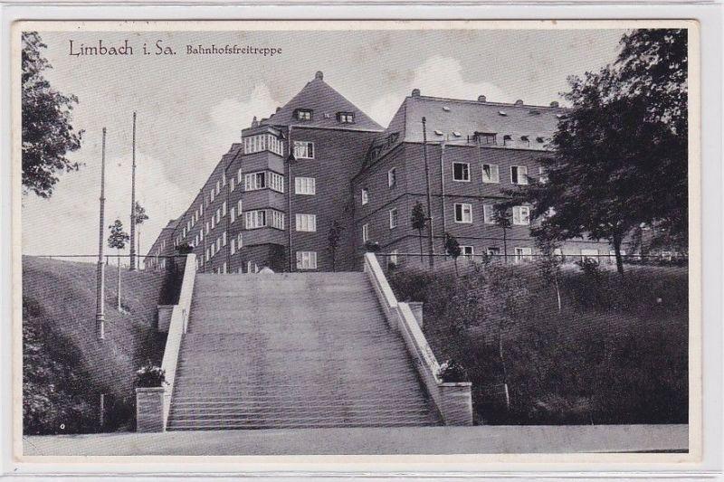 92197 Ak Limbach in Sachsen Bahnhofsfreitreppe 1937 0