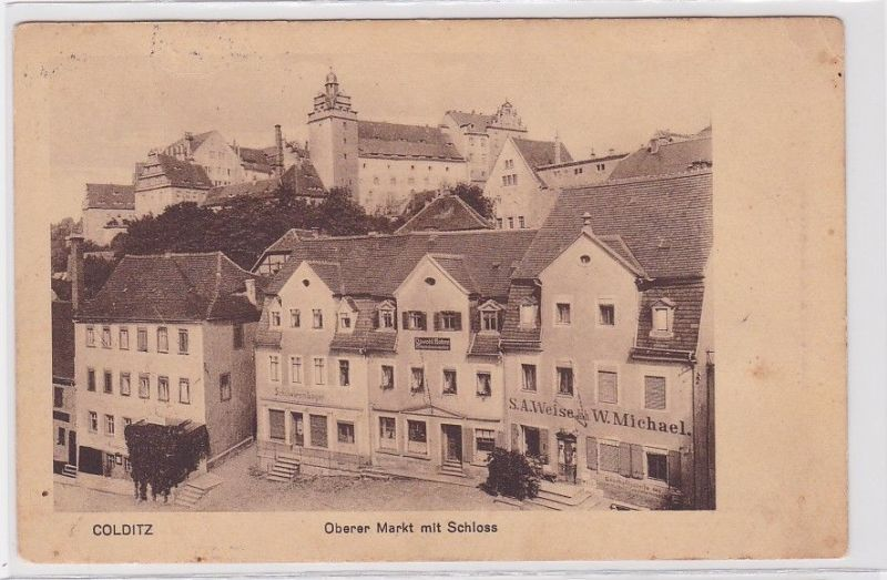 92200 Ak Colditz oberer Markt mit Schloss 1914 0