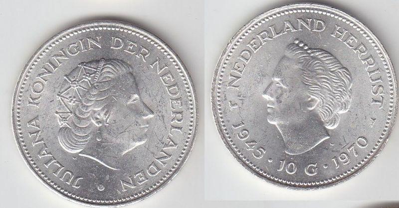 10 Gulden Silber Münze Niederlande 1945-1970 (104673) 0