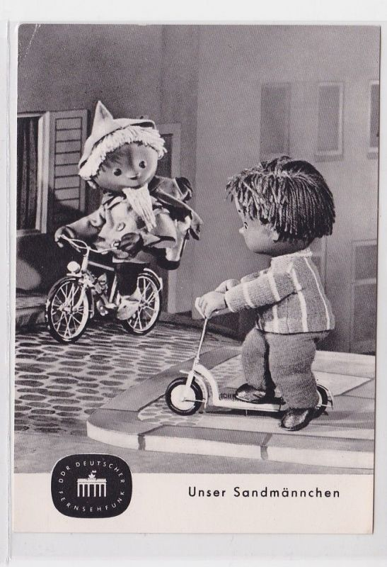 89731 Deutscher Fernsehfunk Ak Unser Sandmännchen kommt mit dem Fahrrad 1963