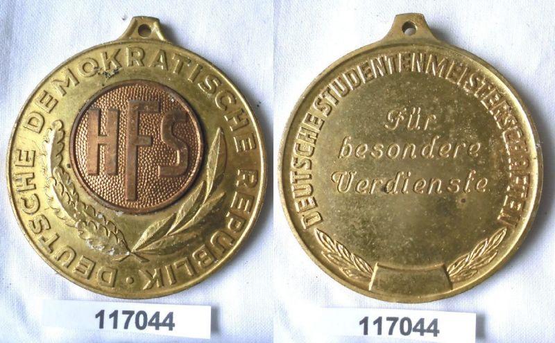 Seltene DDR Medaille Deutscher Studentenmeisterschaften HFS in Gold (117044) 0