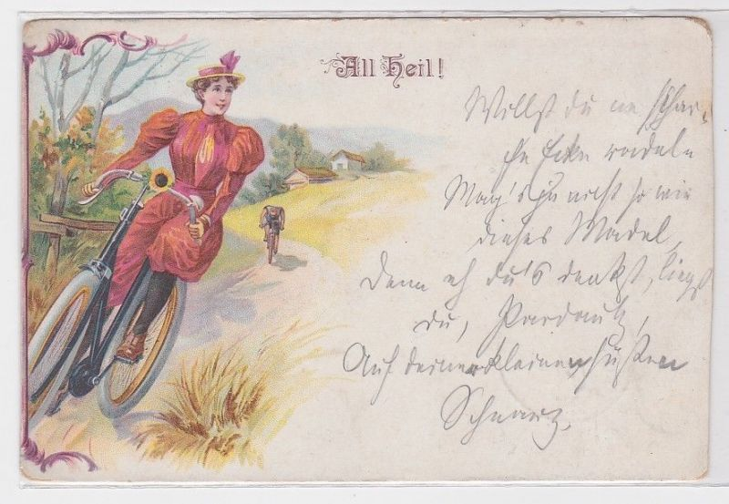 40722 Fahrrad Ak All Heil! Frau in rotem Kleid auf Fahrradtour 1898
