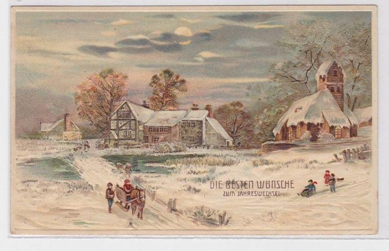 58246 Neujahrs Präge Ak Winterlandschaft mit Pferdeschlitten 1912 0