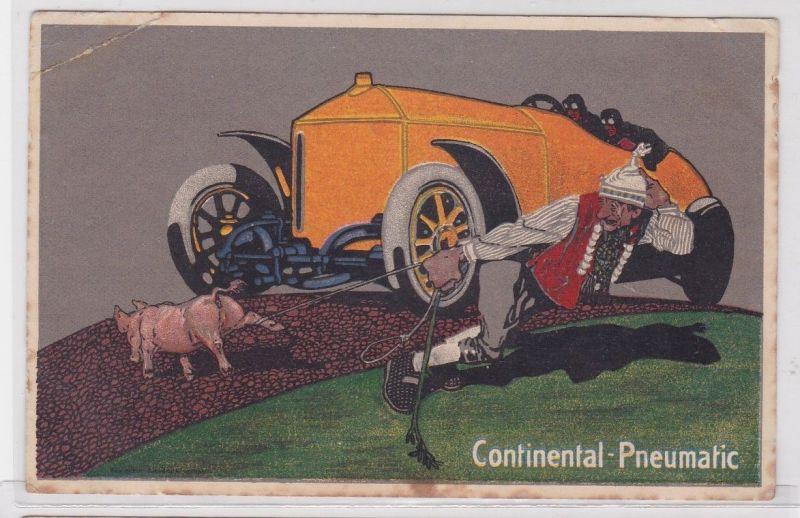 90591 Reklame Humor Ak Continental Pneumatic Schwein vor Automobil um 1915