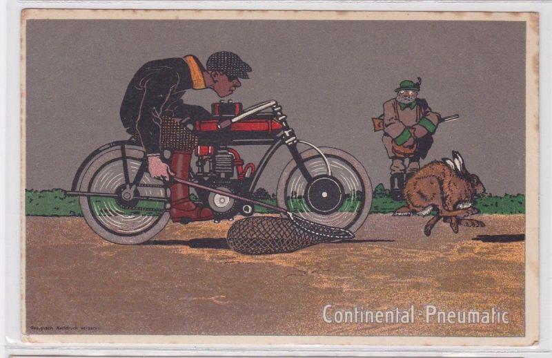 90592 Reklame Humor Ak Continental Pneumatic Motorradfahrer fängt Hasen um 1915