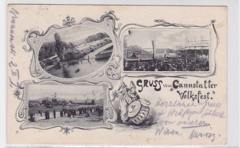 92572 Lithografie AK Gruss vom Canstatter Volksfest - verschiedene Festansichten