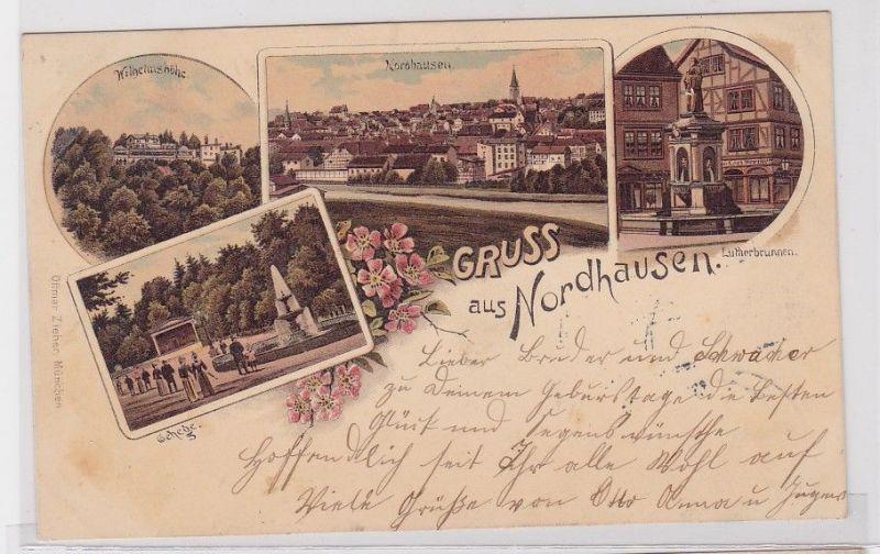 46932 Lithografie AK Gruss aus Nordhausen - Wilhelmshöhe, Lutherbrunnen 1903