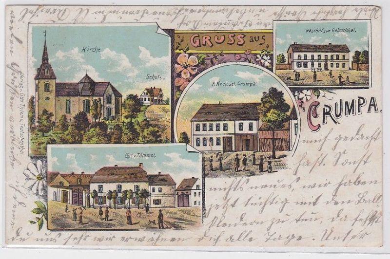 88692 Lithografie AK Gruss aus Crumpa - Kirche, Schule, Gasthof & Gut 1910