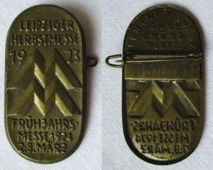Blech Abzeichen Leipziger Herbstmesse 1923 Besucherabzeichen (125519)