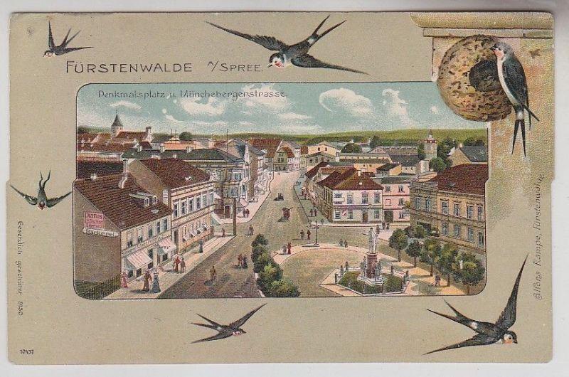 69816 Ak Fürstenwalde an der Spree Denkmalsplatz und Münchebergerstraße um 1910