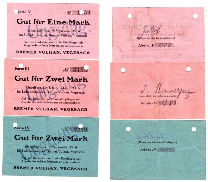 3 Banknoten Lohnschecks der Bremer Vulkan Werft Vegesack 1914 (111567)