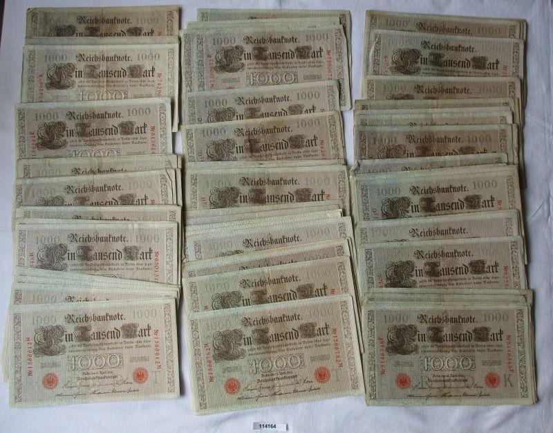 Sammlung mit 100 Banknoten 1000 Tausend Mark Reichsbanknoten 1910 (114164)