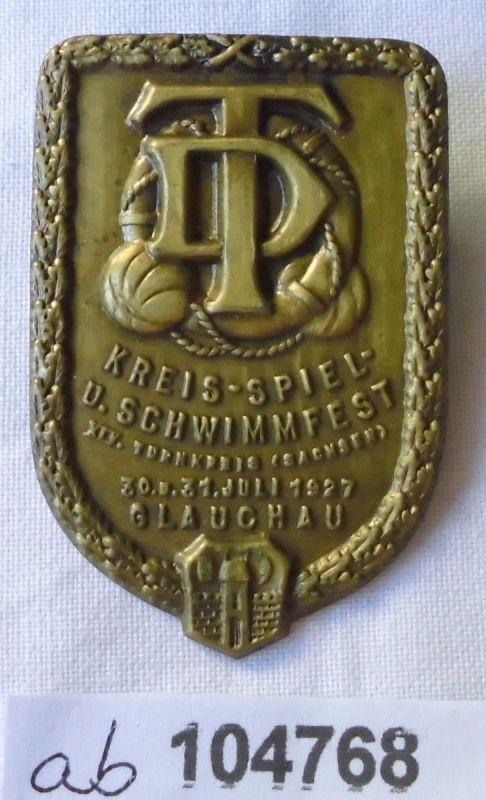 Altes Blech Abzeichen Kreis Spiel- & Schwimmfest Glauchau 1927 (104768)