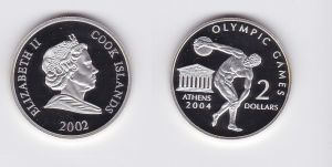 2 Dollar Silbermünze Cook Inseln Olympiade Athen 2004 Diskuswerfer 2002 (118369)