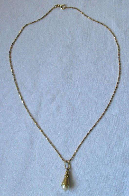 Wundervolle Kette aus 750er Gold mit Perlenanhänger (122556)