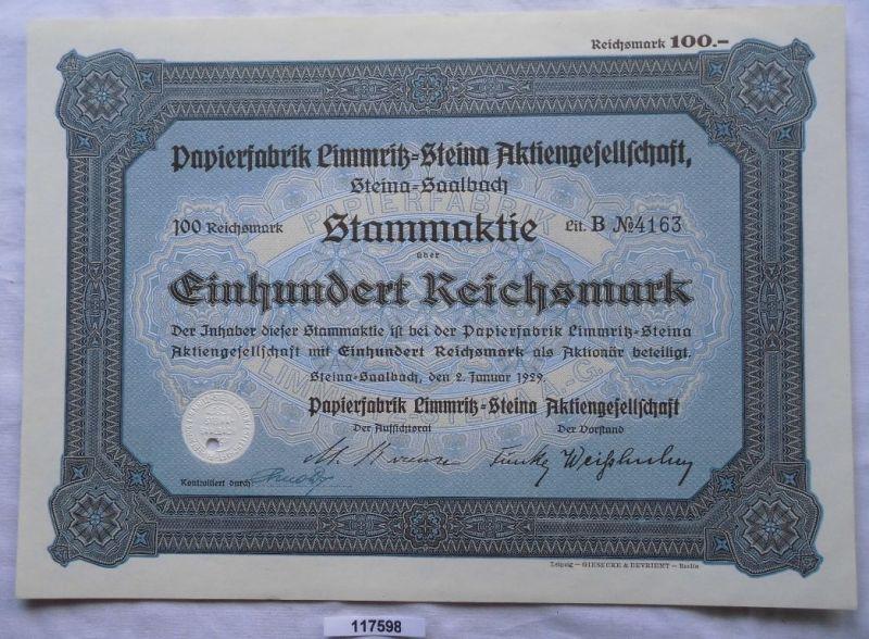 Aktie 100 Mark Papierfabrik Limmritz Steina 2.Januar 1929 (117598)
