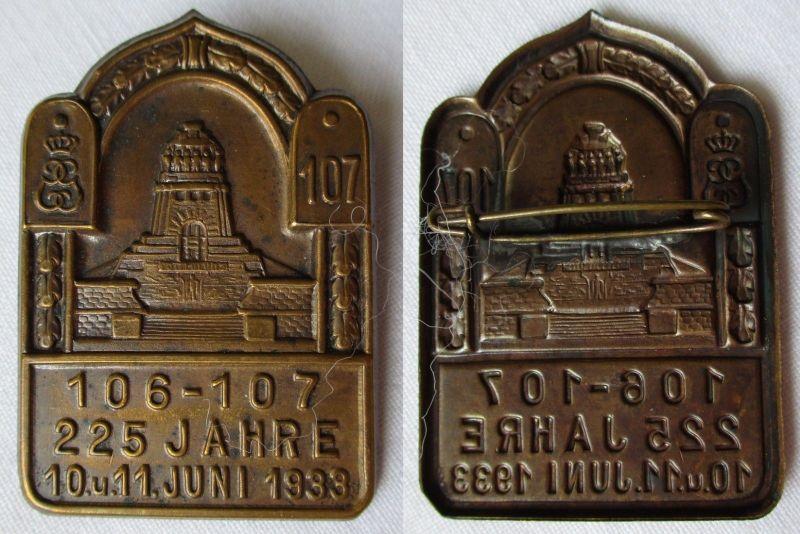 Seltenes Abzeichen 225 Jahre Infanterie Regiment 106 - 107 Leipzig 1933 (125531)