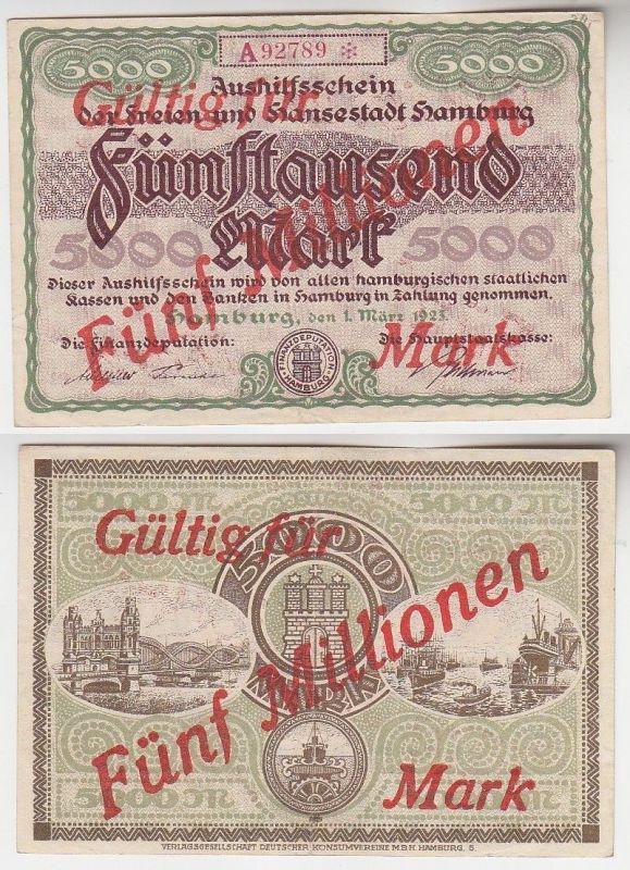 5 Millionen Mark Banknote Aushilfsschein Stadt Hamburg 1923 KN 5stellig (116162)