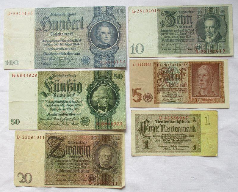 6 verschiedene Banknoten 1 bis 100 Mark Deutsches Reich (113828)
