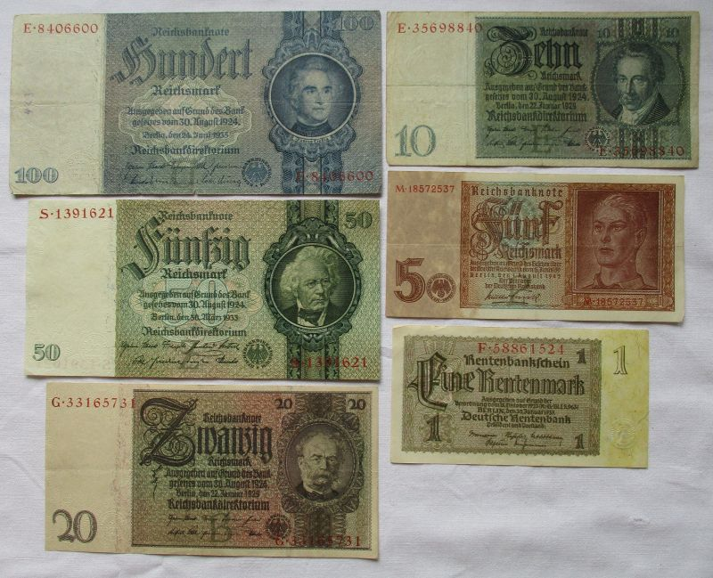 6 verschiedene Banknoten 1 bis 100 Mark Deutsches Reich (114188)