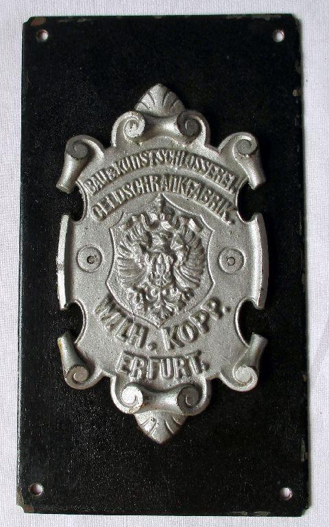 Firmen Reklame / Schild Geldschrankfabrik Wilhelm Kopp Erfurt um 1920 (117410)