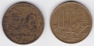 50 Pfennig Messing Münze DDR 1950 Pflug vor Industrielandschaft (125837)