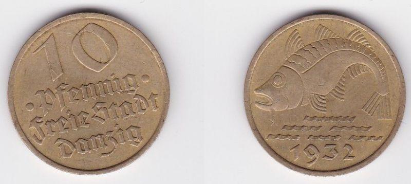10 Pfennig Messing Münze Danzig 1932 Dorsch Jäger D 13 (125831)