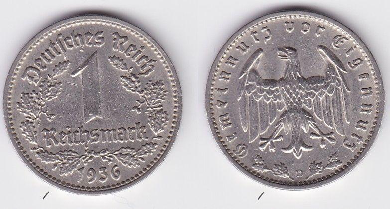 1 Mark Nickel Münze III.Reich 1936 D Jäger Nr. 354 (125824)