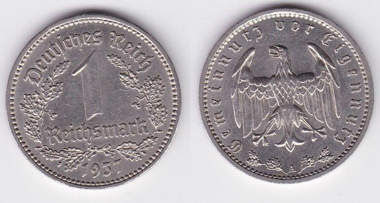1 Mark Nickel Münze III.Reich 1937 A Jäger Nr. 354 (125544)