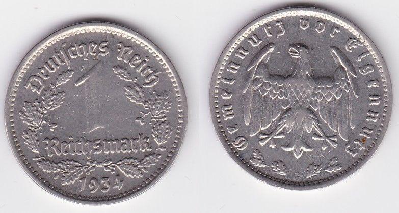 1 Mark Nickel Münze III.Reich 1934 G Jäger Nr. 354 (125523)