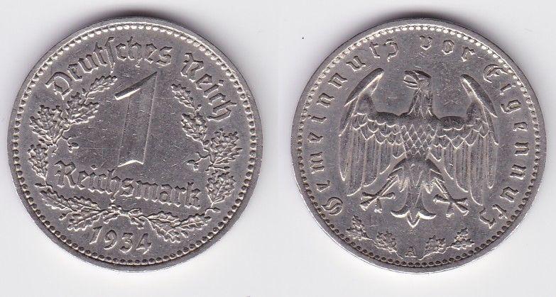 1 Mark Nickel Münze III.Reich 1934 A Jäger Nr. 354 (125605)