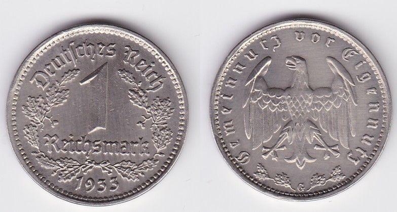 1 Mark Nickel Münze III.Reich 1933 G Jäger Nr. 354 (125826)