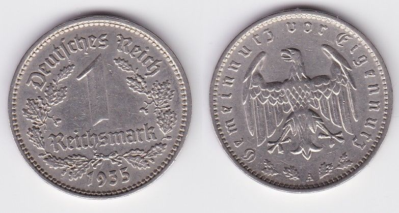 1 Reichsmark Nickel Münze 3.Reich 1935 A Jäger Nr.354 (125810)