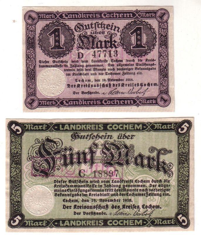 1 und 5 Mark Banknoten Notgeld Landkreis Cochem 19.11.1918 (112138)