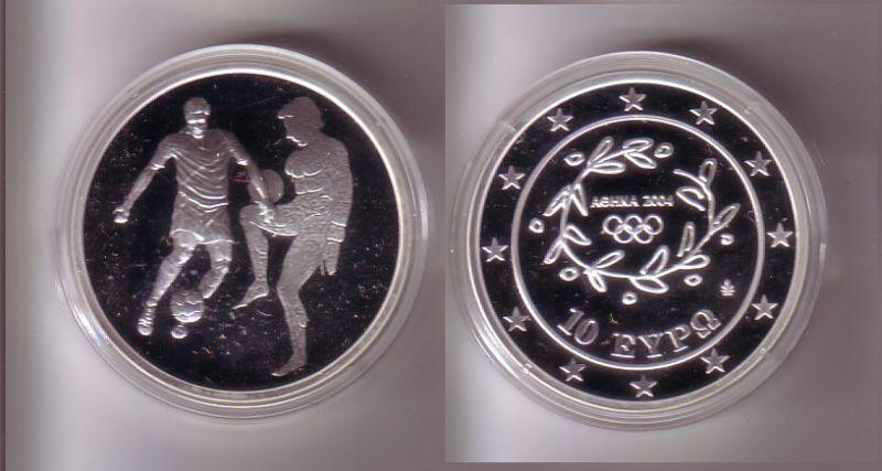 10 Euro Silber Münze Griechenland Olympiade Fussball 2004 PP (109427)