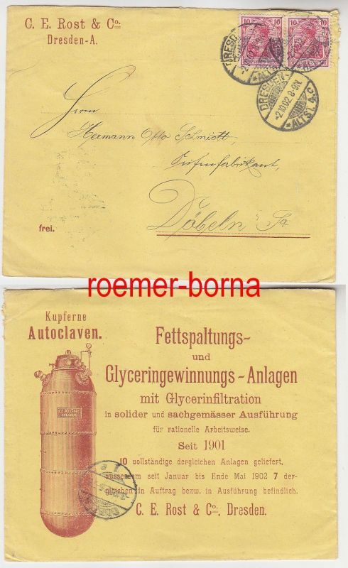 75515 Reklame Brief Firma C.E.Rost & Co. Dresden kupferne Autoclaven 1902