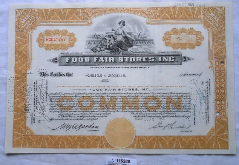 Aktie 1 Dollar Food Fair Stores Inc. New York 20.01.1950 (116289)