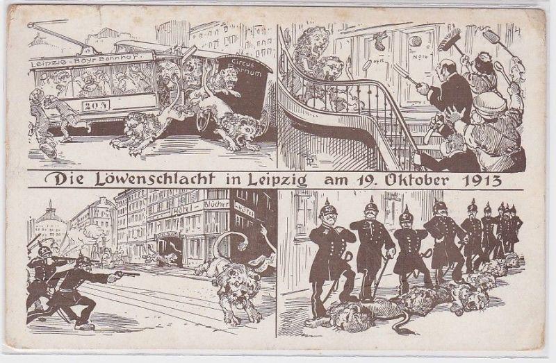 89979 Mehrbid Humor AK Die Löwenschlacht in Leipzig am 19. Oktober 1913