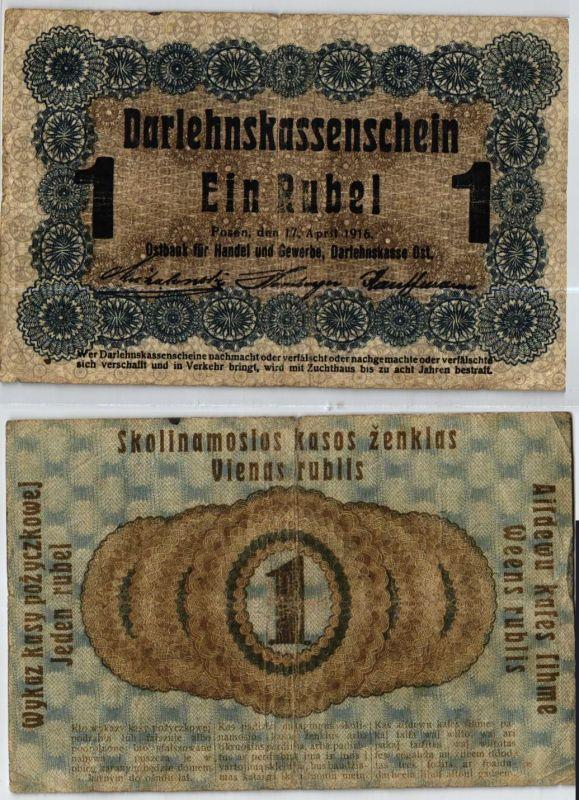 1 Rubel Banknote Darlehnskasse Ost Sitz in Posen 1916 (124013)