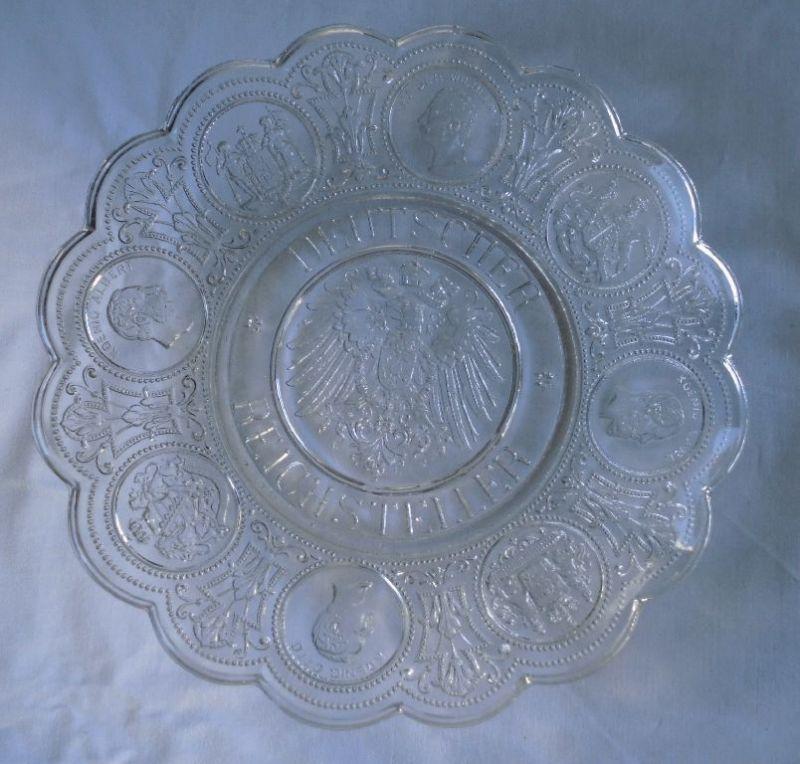 Schöner Glasteller Deutscher Reichsteller Patriotika um 1915 (110601)