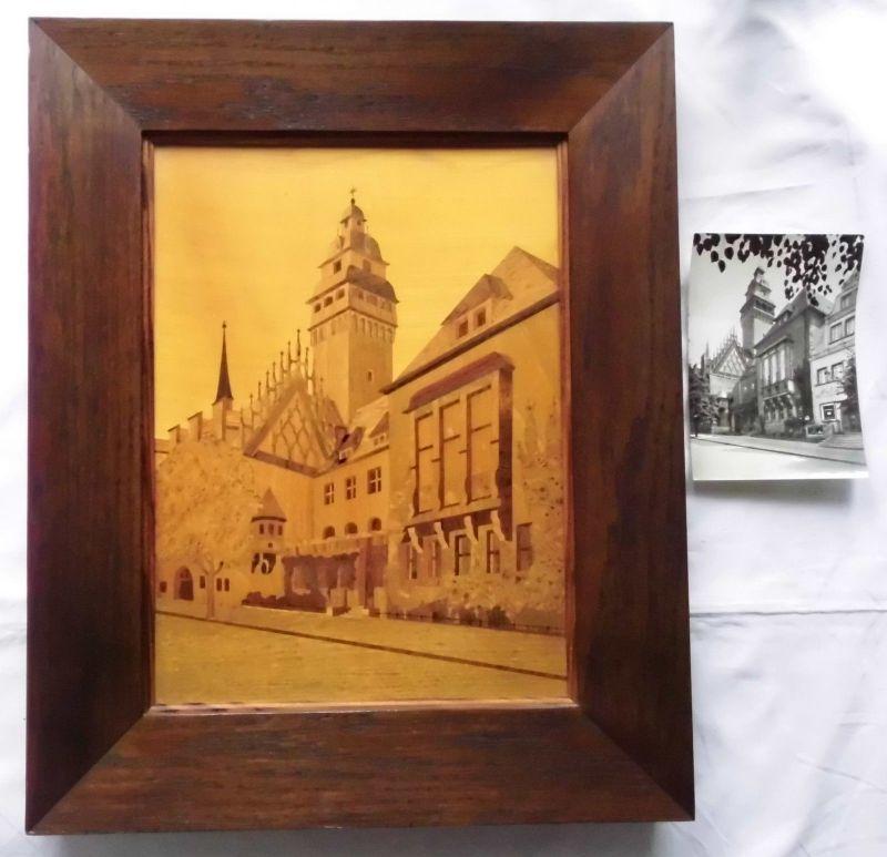 Seltenes großes Holz Intarsien Bild Zeitz Rathaus um 1930 (101689)