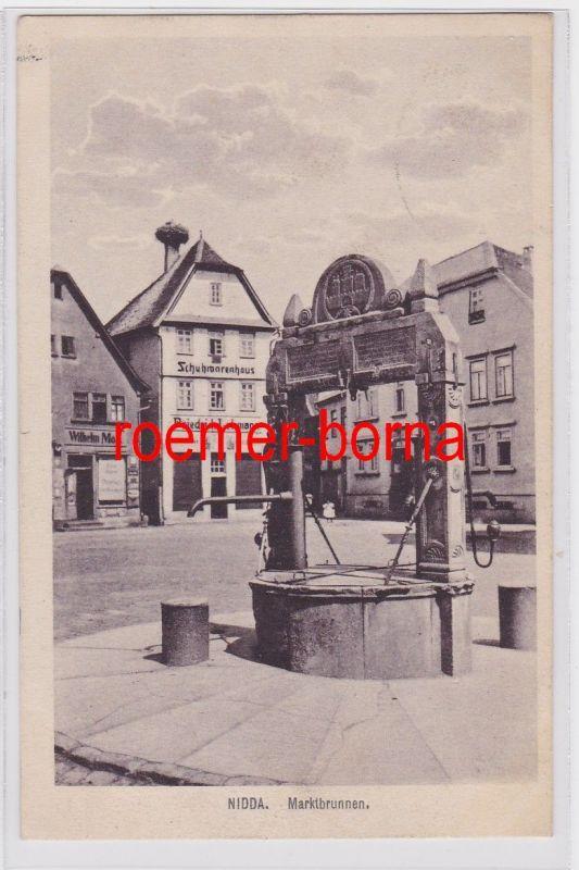 82839 Ak Nidda Marktbrunnen und Schuhwarenhaus Friedrich Lehmann 1917
