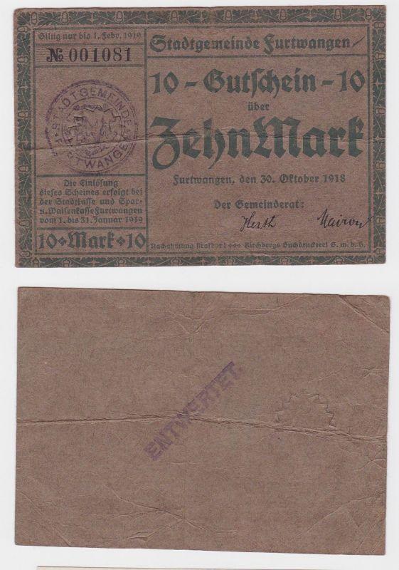10 Mark Banknoten Notgeld Stadtgemeinde Furtwangen 30.10.1918 (120647)
