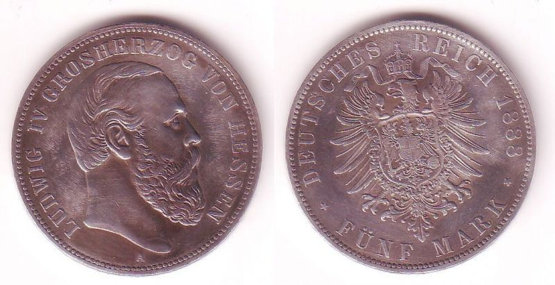 5 Mark Silber Münze Hessen Großherzog Ludwig IV 1888 A vz (102684)
