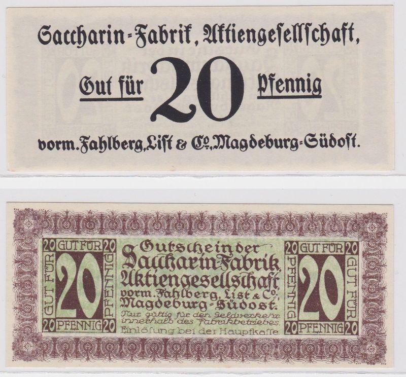 20Pfennig Banknote Notgeld Sacharin Fabrik Magdeburg vorm.Fahlberg List (104304)
