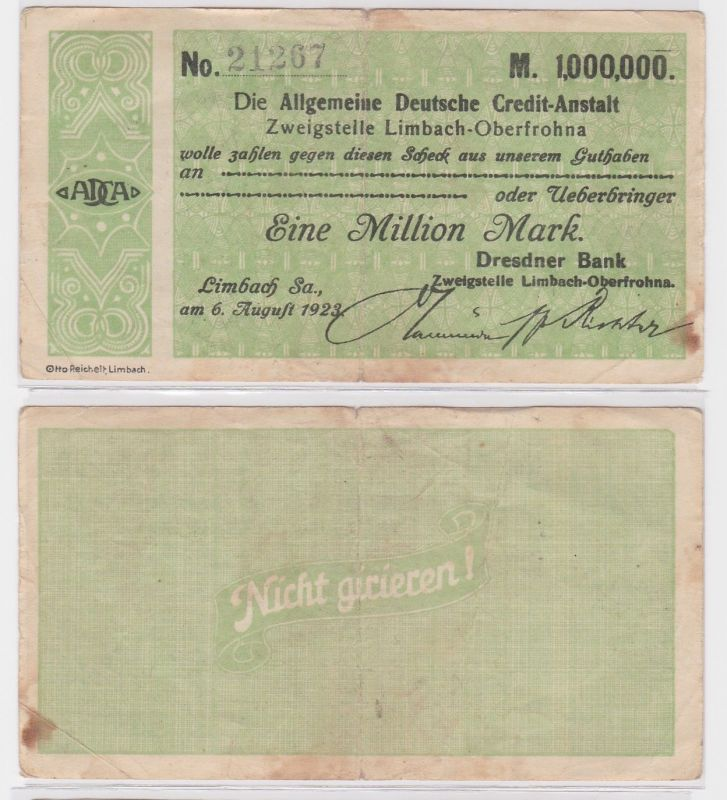 1 Million Mark Banknote allg. dt. Credit Anstalt Limbach 6.8.1923 (121620)