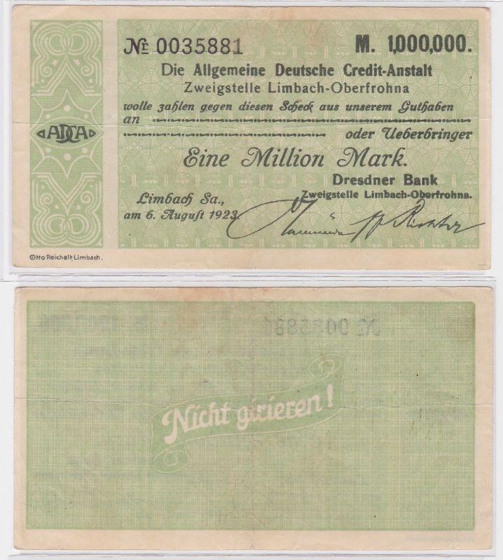 1 Million Mark Banknote allg. dt. Credit Anstalt Limbach 6.8.1923 (121609)