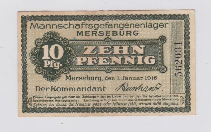 10 Pfennig Banknote Mannschaftsgefangenenlager Merseburg 1.1.1916 (117612)